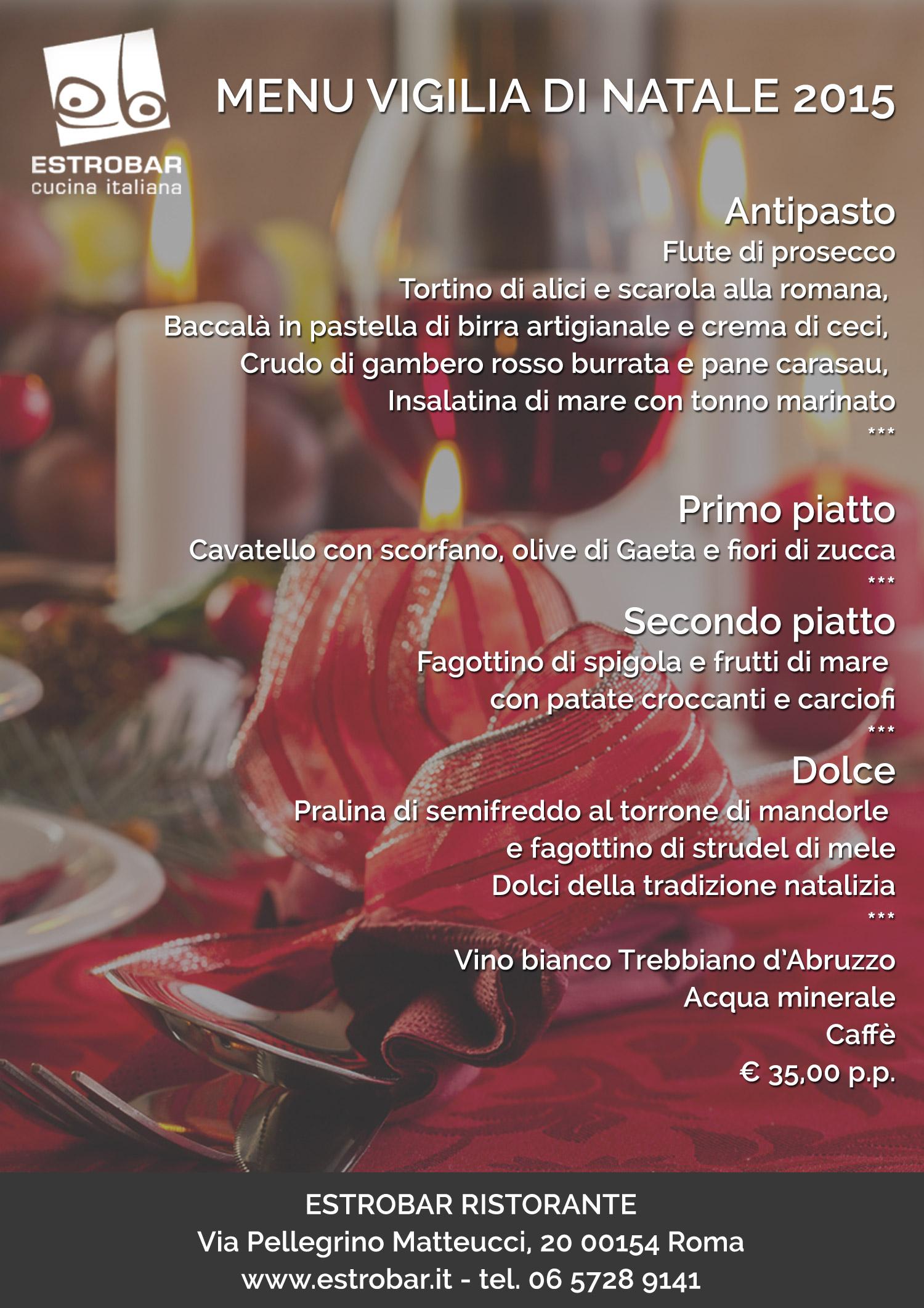 Menu di natale ristoranti roma